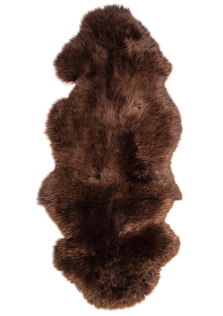 Lammfell 1.5 fach, Kopf-Kopf, Mokka-Braun