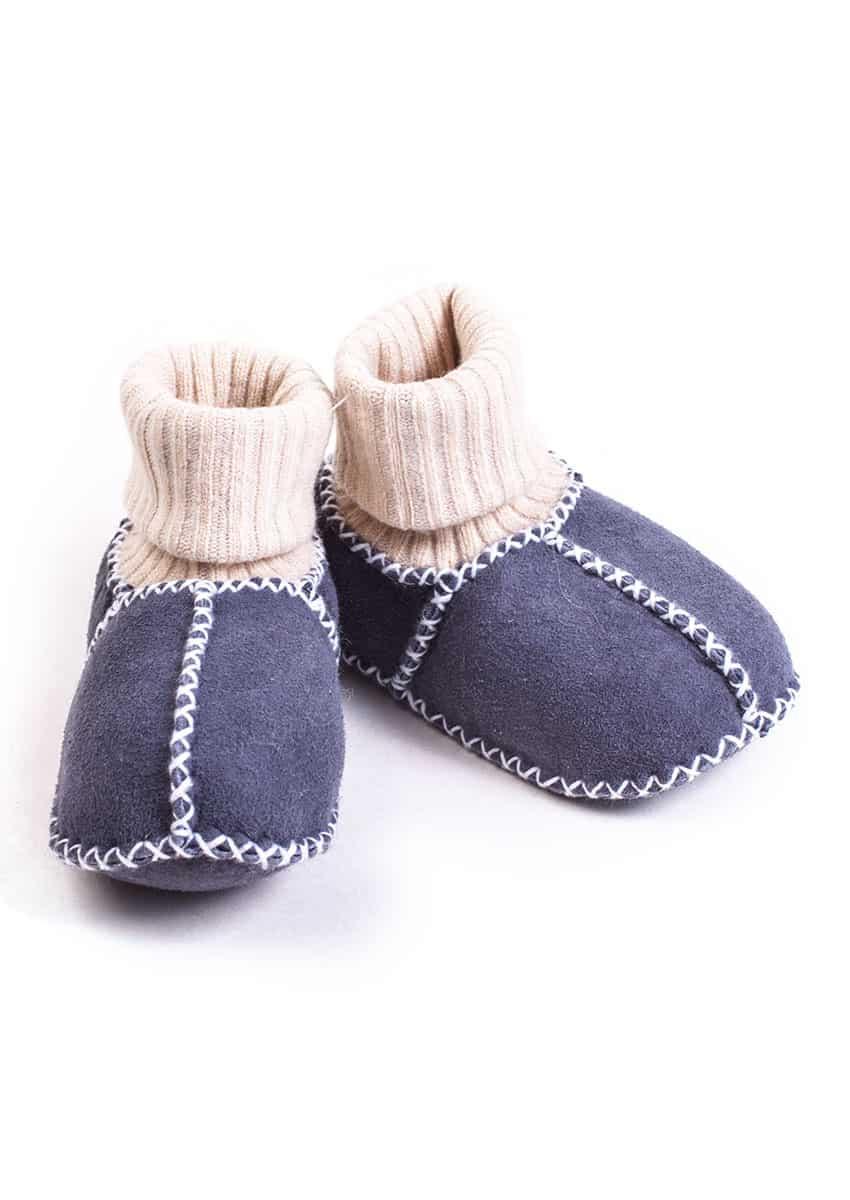 Babyschuh Lammfell mit Strick, Blau-grau-anthrazit